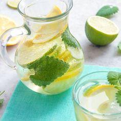 Detox water citron et menthe poivrée