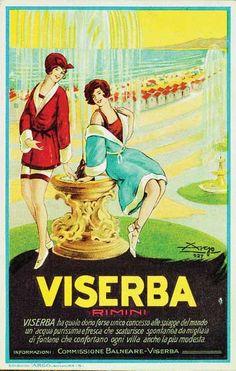 Rimini 1928 La regina delle acque. Locandina pubblicitaria di Argo per la pubblicità di Viserba del 1928. Locandina pubblicitaria.