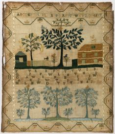 ♒ Enchanting Embroidery ♒ embroidered antique sampler, 1799 | Collection of Cooper Hewitt, Smithsonian Design Museum