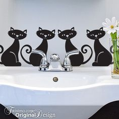 Animal Vinyl Wall Cat Decal Set of 4 Black Cats with by Twistmo, $18.00 >>  Super cute!