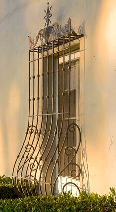 Ground floor iron detail, french door, 4455 Via Bendita | Hope Ranch, Santa Barbara