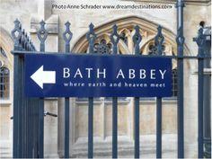 "Bath Abbey sign ""where earth & heaven meet"" , Bath England"