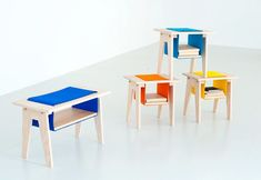 This series of furniture by Norwegian designer Amy Hunting incorporates loops of felt for storage.