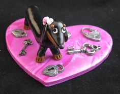 Clay Key to My Heart  Dachshund Valentine's by PairADoxDesigns, $45.00