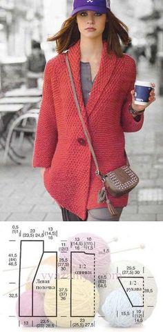 Jacket spokes a simple pattern from Stricktrends. Crochet Jacket, Knit Jacket, Crochet Cardigan, Knit Crochet, Clothing Patterns, Knitting Patterns, Knitted Coat, Knit Fashion, Knitting Designs