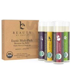 4 Pack Unisex Organic Moisturizing Fruit Flavored Lip Balm Christmas Gift Set