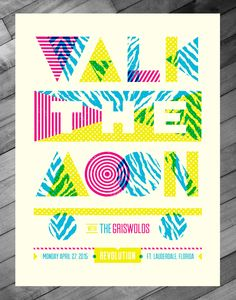 Walk The Moon Poster - Ft. Lauderdale walk the moon shapes halftone def music Web Design, Graphic Design Trends, Graphic Design Posters, Graphic Design Typography, Graphic Design Inspiration, Print Design, Poster Designs, Retro Design, Walk The Moon