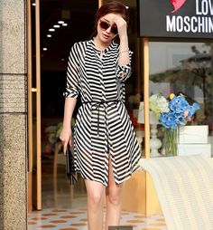 2014 New Coming Style Blouse Chiffon Striped MD-Long Three-quarter Sleeve Top Cardigan  Blouse With Belt