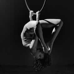 Crab on lyra, aerial hoop  Aerialist: Brandi Powers, Photographer: John Milton