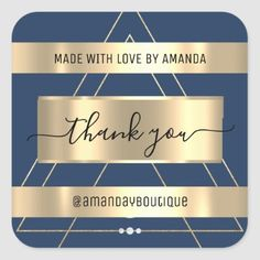 Thank You Shopping Custom Name Gold Blue Square Sticker Anniversary Party Favors, Wedding Anniversary, Sweet Packets, Blue Square, Bridal Shower Favors, Love Is Sweet, Business Supplies, Custom Stickers, Keep It Cleaner