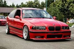 BMW E36 3 series red slammed