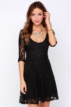 LULUS Exclusive Head Over Feels Black Lace Dress at Lulus.com!