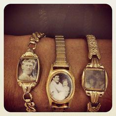 Findet man hübsche alte Armbanduhren am Flohmarkt, funktionieren diese in den meisten Fällen nicht mehr. Und eine Reparatur kostet wahrscheinlich ein Vielfaches dessen, was man für das ganze gute Stück hingeblättert hat. Warum also nicht das Ziffernblatt entfernen oder überkleben? Beispielsweise mit alten Schwarz/Weiß-Fotografien, die perfekt zum Vintage-Flair der Uhr passen.