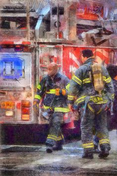FDNY Watercolor Painting Firefighter Fire house by ReburnDesigns