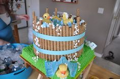 baby shower idea... love the use of the tube cookies as the barrel!