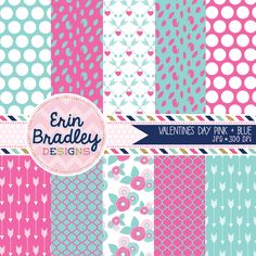 Valentines Day Pink & Blue Digital Paper Pack Personal and Commercial Use Graphics