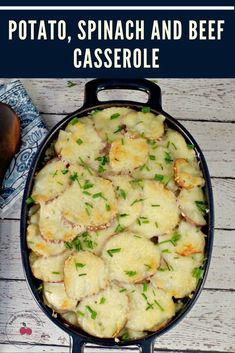 This Potato, Spinach and Beef casserole really is a complete meal in one pot and it's gluten-free! With sliced potatoes, frozen spinach, ground beef and Swiss cheese you get all your food groups in one dish! #casserole #beef #spinach #potato #glutenfree