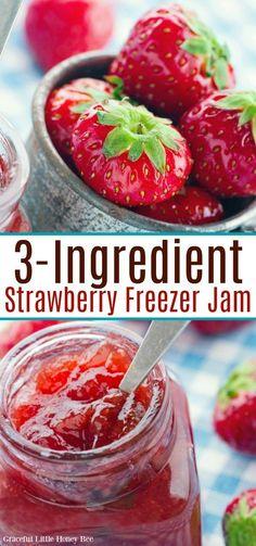 Freezer Jam Recipes, Jelly Recipes, Freezer Cooking, Canning Recipes, Real Food Recipes, Easy Jam Recipes, Canning Tips, Fruit Recipes, Strawberry Freezer Jam
