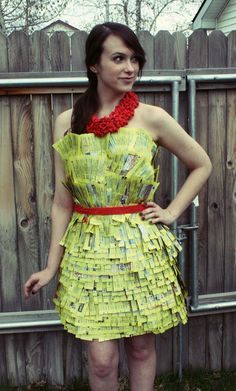 phone book and mop dress - she also has other designs posted Repurposed Fashion | Trashion | Refashion | Upcycled Fashion