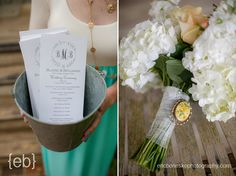 White floral bouquet with broach and ceremony programs at the chapel on Bald Head Island NC. Eric Boneske Photography