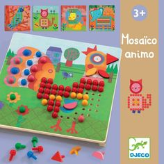 Djeco ~ Masaico Animo Peg Board Kids Gifts, Craft Gifts, Crafts For Kids, Arts And Crafts, Musical Toys, Wooden Pegs, Science Experiments Kids, Easy Sewing Projects, Knitting For Kids