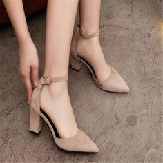 Women's Suede Block Heels Mid Heel Pumps Ankle Straps Sandals Prom Shoes Party