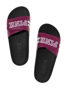Victorias Secret PINK Crossover Comfort Slide Raspberry Wine Large 910 -- Continue to the product at the image link. (This is an affiliate link) Crossover, Vs Pink Slides, Cute Slides, Nike Slippers, Victoria Secret Shoes, Women Slides, Pink Brand, Pink Shoes, Slide Sandals