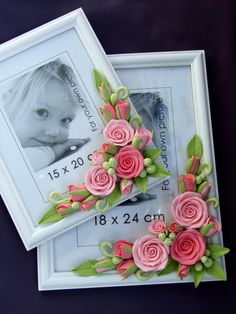 Set of two photo frames, Wood photo frame, White picture frame decorated with flowers made of polymer clay, Frame with pink roses