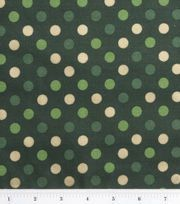 Holiday Inspirations Fabric-Gold Dots On Green