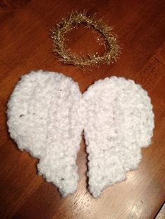 Newborn Crochet Angel Wings and Halo Photography Prop. $20.00, via Etsy.