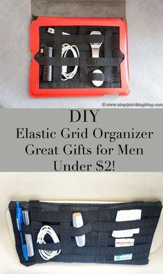 DIY elastic grid it organizer http://simplystrikingblog.com/2013/11/27/diy-elastic-grid-organizer-great-gift-for-men-and-under-2/