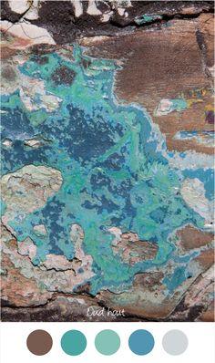 OUD HOUT - Mooie kleuren voor in het interieur - Grijs - Bruin en Turquoise - Blauw - Licht blauw. Verweerd hout