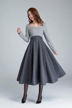 Regalo de Navidad, vestido del diseñador, vestido gris, vestido largo, vestido de lana, vestidos de invierno, vestidos mujer, vestido elegante, de color bloque vestido 1615