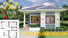 Small House Design Plans with 2 Bedrooms Full Plans - House Plans House Design 3d, Simple House Design, Bungalow House Design, Simple House Plans, Tiny House Plans, Casa Top, One Bedroom Flat, Flat Roof House, House Construction Plan