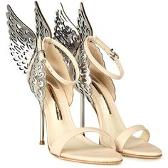 Sophia Webster Evangeline Angel-Wings Leather Sandals (€570) ❤ liked on Polyvore featuring shoes, sandals, heels, nude, stilettos shoes, heeled sandals, nude shoes, nude heel shoes and stiletto heel sandals