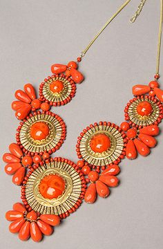 medallion bib necklace in coral