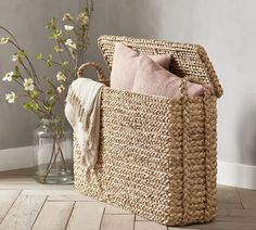 Beachcomber Oversized Baskets With Lid | Storage Basket | Pottery Barn