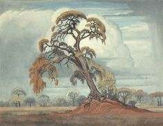 J H Pierneef -- Untitled, 1951 African Paintings, Old Paintings, Landscape Art, Landscape Paintings, South African Artists, Tree Art, Pattern Art, Illustration Art, Illustrations