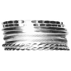 Kim Rogers Silver Multi Bangles In Mixed Textures ($10) ❤ liked on Polyvore featuring jewelry, bracelets, silver, kim rogers jewelry, silver bracelet bangle, bangle bracelet, silver hinged bracelet and bangle set
