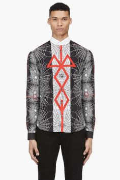 MCQ ALEXANDER MCQUEEN Black, White & Red Print Button-Down Shirt