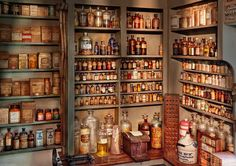 Pharmacy - Get Me That Bottle On The Second Shelf Art Print by Mike Savad. All prints are professionally printed, packaged, and shipped within 3 - 4 business days. Choose from multiple sizes and hundreds of frame and mat options. Apothecary Decor, Apothecary Shoppe, Apothecary Bottles, Sofa Deals, Kitchen Pantry Design, Kitchen Decor, Best Leather Sofa, Sofa Price, Buy Sofa