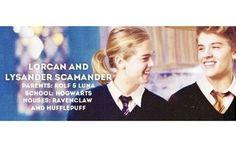 #lorcan#lysander#scamanderravenclaw#hufflepuff#twins#lunalovegood#rolfscamander#pureblood#hogwarts#nexthogwartsgeneration