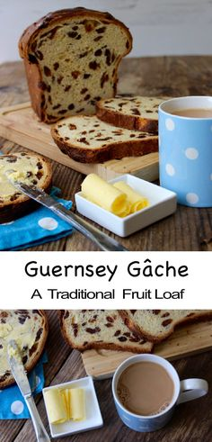 """épinglé par ❃❀CM❁✿⊱Guernsey Gâche (pronounced """"Gosh"""") is a traditional fruit loaf. The perfect teatime treat or toasted for breakfast. Fruit Loaf Recipe, Fruit Bread, Loaf Recipes, Bread Machine Recipes, Baking Recipes, Cake Recipes, Vegan Recipes, Dough Ingredients, Thing 1"""