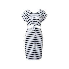 Monochrome Stripe Open Belly Dress ❤ liked on Polyvore featuring dresses, stripe dresses, striped dress and monochrome dress