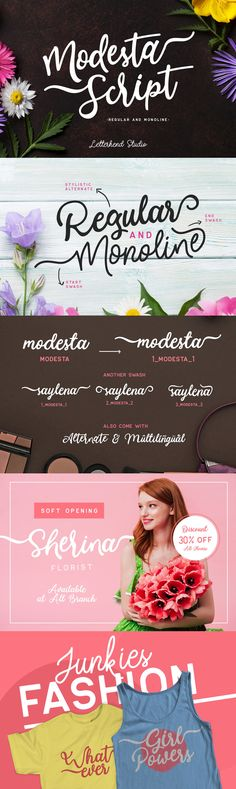 Modesta Script - Please welcome, Modesta Script! A lovely font duo script! This font has two types of style, monoline and regular. Perfect to be used for project with feminine & girly theme! You can play with the ligatures, stylistic alternate, swash, etc to create...