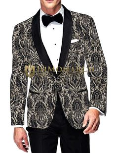 Mens Black and Cream Kimkhab Blazer Two Button #Blazer #jacket #coat #bespoke #menswear #weddings #groom #indianwear #Bollywood #celebrity #Fashion #Style #Handsome #Inmonarch