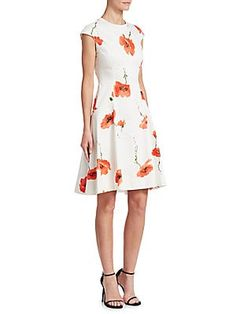 f056dd6848bf Lela Rose Blair Flower Cap Sleeve Dress Structured Dress