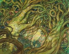"""""""Wall of Wood"""" -9"""" x 12""""  Original art for Magic the Gathering by Rebecca Guay available at the R. Michelson Galleries or at rmichelson.com"""