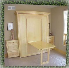 home office, craft room, guest room - a hidden table on the front of a murphy bed Small Apartments, Small Spaces, Murphy-bett Ikea, Modern Murphy Beds, Murphy Bed Plans, Guest Room Office, Guest Rooms, Bed Wall, Decorate Your Room