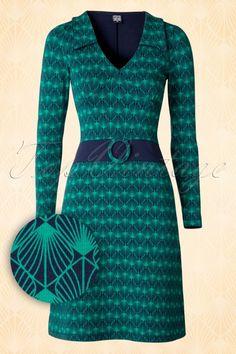 Mademoiselle Yeye Chloe Dress Blue Green 106 39 15631 20150820 0004W1 Retro  Mode bd3b63230